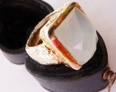 Sterling vermeil chalcedony ring US 6.5