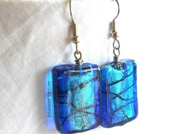 Rectangle Earrings Lampwork Earrings Foil Earrings Foil Lined Glass Earrings Blue Earrings Surgical Steel Hooks Beaded Drop Dangle