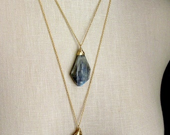Labradorite Necklace Gold Filled Chain Wire Wrapped