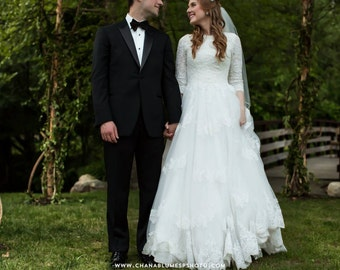 Modest Wedding Dress with Sleeves and French Lace Bodice English Net Skirt