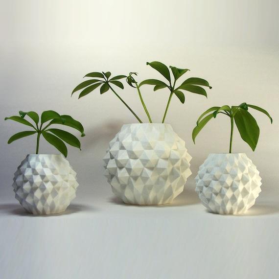 planter, modern indoor planters, Unique planter pots, Geometric round ...
