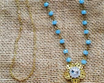 Vintage / Boho Turquoise Druzy Long Necklace Flower Bling Quartz Druzy
