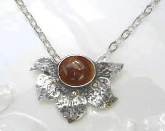 Fire Agate Lotus pendant - Rare Fire Agate, .925 Sterling and 14k Gold with Chain