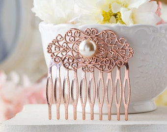 Rose Gold Hair Comb, Rose Gold Wedding Bridal Hair Comb, Winter Fall Autumn Wedding, Bridesmaid Gift, Filigree Champagne Pearl Comb