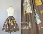 Vintage 50s Skirt/ 1950s Cotton Skirt/ Brown Novelty Print Native American Print Cotton Skirt S