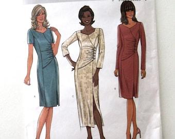 2000s Dress Pattern Butterick B4283 Womens Sheath Cocktail Dress Sewing Pattern Princess Seams, Side Gathers, Size 6-12 Bust 30.5-34 UNCUT