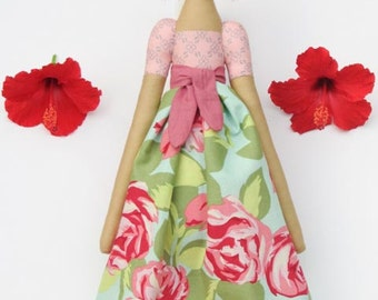 Rag doll Tilda doll cloth doll pink roses dress fabric doll softie baby shower nursery decor gift idea for girls