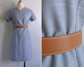 Vintage 70's Dusty Teal Blue Striped Textured Shift Dress S or M
