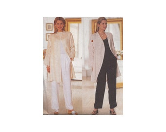Misses Loose Fitting Jacket and Pants  Size 14-18 Bust 36-38-40 Butterick Sewing Pattern 6112 Below Hip, Unlined Jacket
