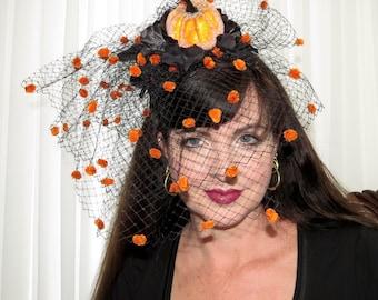 LITTLE PUMPKIN Orange and  Black Headband Veil Hair Adornment