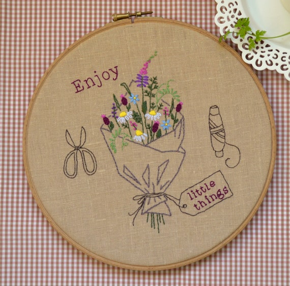Hand embroidery hoop art by