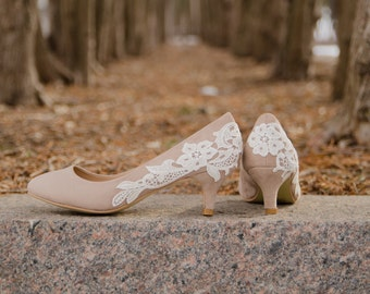 Taupe Pumps, Low Heels, Wedding Shoes, Bridesmaid Shoes, Bridesmaid Gift, Bridal Shoes, Kitten Heel, Low Pumps with Ivory Lace. US Size 8