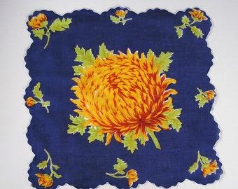 Navy Blue Golden Mum Hanky with Scalloped Border . Vintage Floral Handkerchief