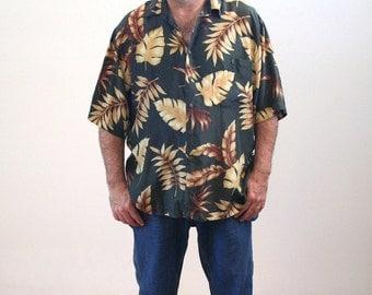 90s Silk Hawaiian Shirt, Olive Green Tropical Print Shirt, Tropical Leaf Print Aloha Shirt, Sandwashed Silk Island Shirt, Size XL