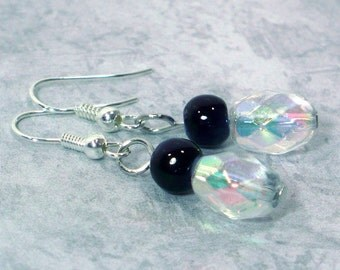 Navy & Crystal Drop Earrings - Beaded Dangle Earrings, Nickle-Free Earwires, Jewelry For Her, Handmade in the USA, Ready to Ship