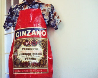 "Oilcloth Bib Apron 28""L Italian CinZano Vermouth; Gold Red White Blue Enameled Full Oil Cloth; BBQ Grilling Cooking Plastic Vinyl Waterproof"