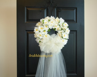 summer wreath fall wedding wreath white tulle door wreath veil outdoor wreath front door wreaths bridal shower decor