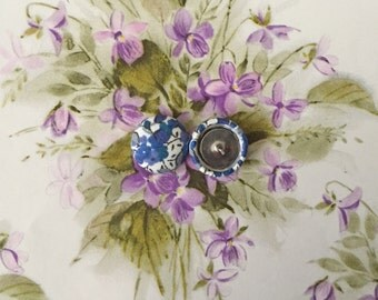 Fabric Covered Button Earrings / Blue Flowers / Wholesale Jewelry / Stud Earrings / Gifts for Her / Handmade in USA