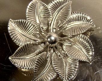 Bond Boyd Sterling Silver Pinwheel Flower Pin Brooch c1950s