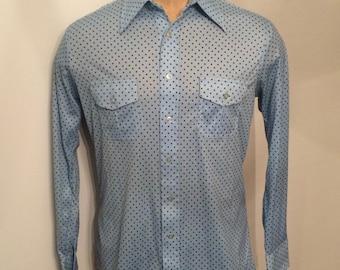 Vintage MENS 70s Lucien Piccard blue on blue polka dot knit shirt, size L
