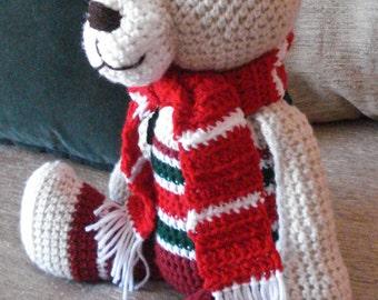 "Crocheted  Christmas teddy bear stuffed animal doll toy ""Barnaby"""
