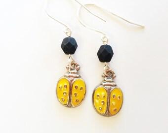 Yellow Ladybug Earrings, Ladybug Charm Jewelry, Ladybug Gifts, Girls Jewelry, Cute Earrings, Whimsical Earrings; Teen Earrings, Friend Gift