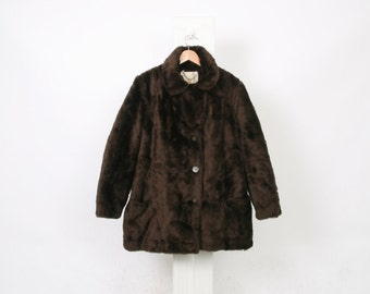 VEGAN Faux FUR Brown COAT Button Up Soft Winter Womens size Au 12 Us 8 Ml Medium Large Vintage 70s 80s Fully Lined Boho Jacket
