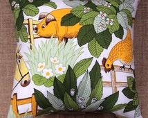 Vintage 1970s Burgess Ledward Animal Farm Fabric Cushion Complete With Interior 40cmx40cm