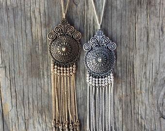 Bohemian Necklace, Fringe Necklace, Long Boho Necklace,  Statement Necklace, Bib Necklace, Boho Necklace
