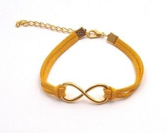Mustard Faux Suede Cord Infinity Link Bracelet