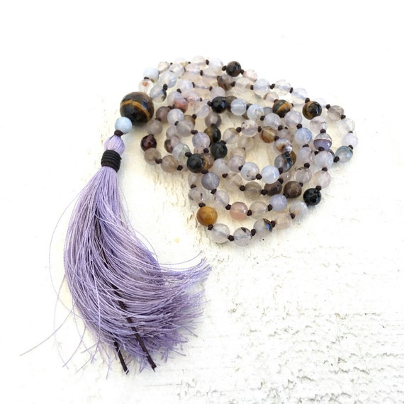Solar Plexus Mala, Tiger Eye Mala Necklace, Hand Knotted Mala, 108 Bead Mala With Silk Tassel, Yoga Necklace, Gemstone Mala