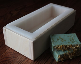 """Solid Support Soap Mold For 10"""" Bramble Berry 50 oz. Silicone Liners Hand Made Birch Wood Log Loaf Box"""