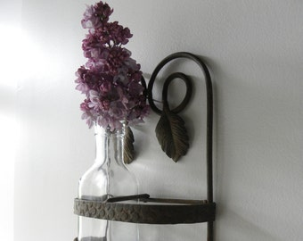 Vintage French Rusty Shabby Industriel  Iron Wall Shelf Hanging  60s / 70s  Leaf Ornament