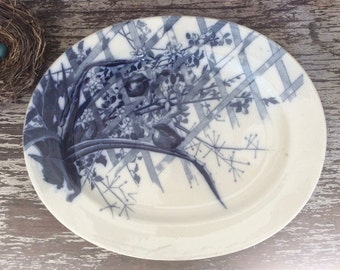 Antique Pierre Mallet transferware platter with birds and flowers