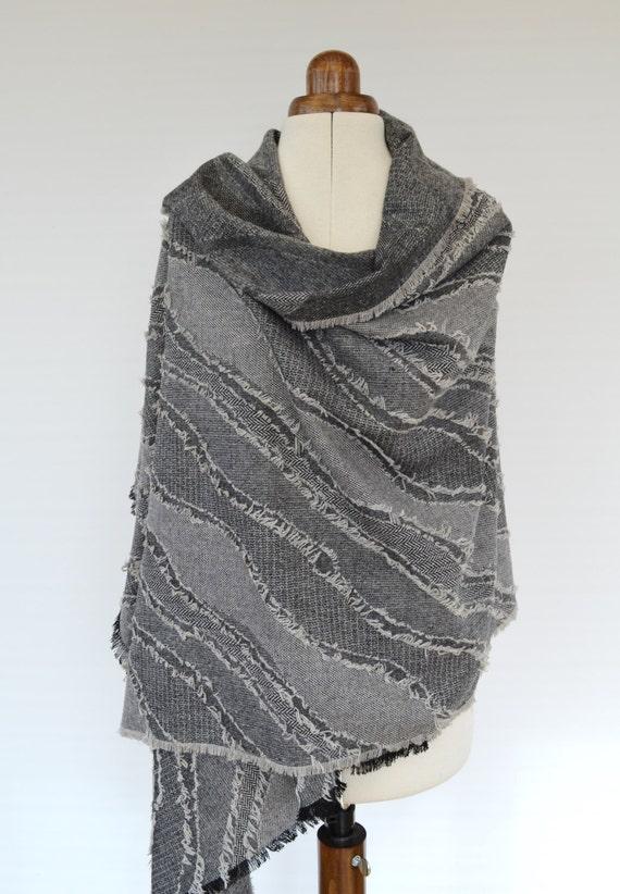 Fringe Scarf, Grey Wool Scarf, Unisex Blanket Scarf, Shawl Poncho, Wool Wrap Shawl, Men's Wool Scarf, Wool Shawl