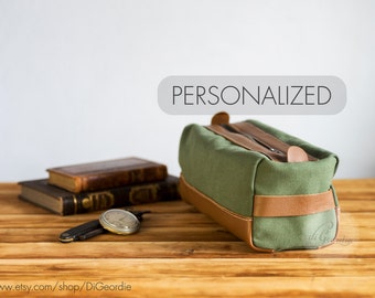 canvas dopp kit bag leather toiletry bag mens shaving kit bag leather dopp bag leather dopp kit waxed canvas dopp bag canvas groomsmen gift