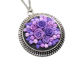 Floral pendant necklace Polymer Clay Pendant Necklace Polymer Clay Jewelry Fashion Jewelry Clay Jewelry Clay Flowers Purple Pendant Gift