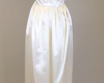 Vintage 50s, White, Satin, Slip Dress // 1950s, Bridal Gown, Women's Size Small