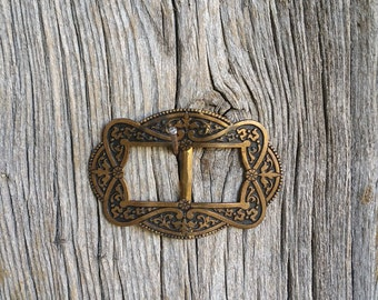 French Antique Art Nouveau Belt Buckle  -  Early 20th Century Gilt Ornate Belt Buckle
