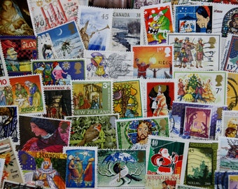 50 Christmas Postage Stamps // World Mixed Lot // Stamp Collecting // Scrapbooking // Paper Craft // Art Ephemera // Journal // Mixed Media