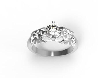Zelda Engagement Ring Triforce Inspired Rose Gold Engagement