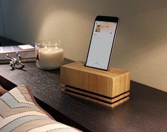 Modern Phone Speaker Kit, Phone Amplifier, Wooden Phone Dock