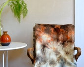 Hand Dyed Wool Throw Blanket in Brown Gray Orange/ Eco Natural Dye 100% Wool / Campfire