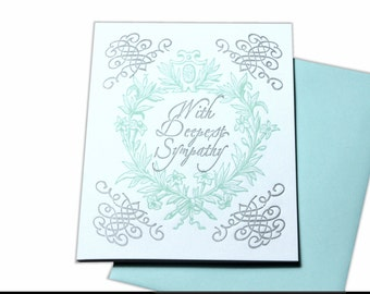 Blank Sympathy Card, Letterpress Greeting Cards, Condolence Card, Thinking of You Cards