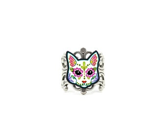Cat in White - Day of the Dead Sugar Skull Kitty Ring - Adjustable Antiqued Silver Filigree Band