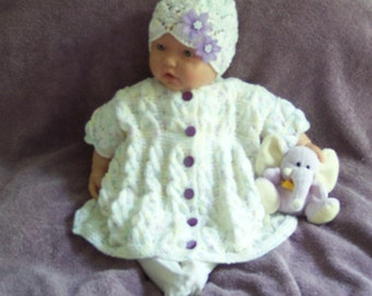Handmade Baby girls knit Sweater Dress & hat intricate shell stitch lavender buttons flower hat cute for dressing up -0-12M Ready To Ship