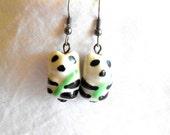 Panda Earrings Animal Earrings Cute Earrings Ceramic Earrings Beaded Earrings Surgical Steel French Hooks