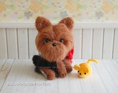 yorkie puppy dog, kawaii amigurumi fuzzy pup, crochet brown dog stuffed plush aminal, mini yellow mouse