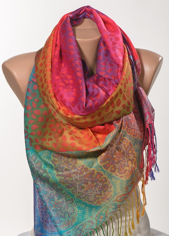 colorful mothers day pashmina scarf or shawl or by