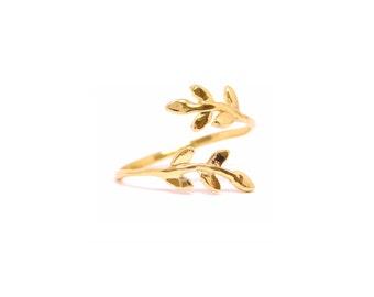Gold Leaf Ring, Gold filled Ring, Leaves Branch Ring, Adjustable Leaf Ring, Adjustable Gold Ring, Open Leaf Ring, Wholesale Rings, Trendy